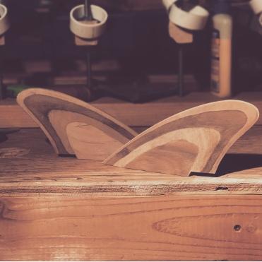 Redwood keel fins.