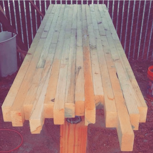 Stack pine boards.